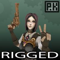 Steampunk Girl - Rigged